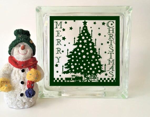 Wine Bottle Christmas Tree Diy.Merry Christmas Tree Glass Block Vinyl Decal Diy Glass Block Wine Bottle Decal Christmas Tree Decal Glass Block Sticker