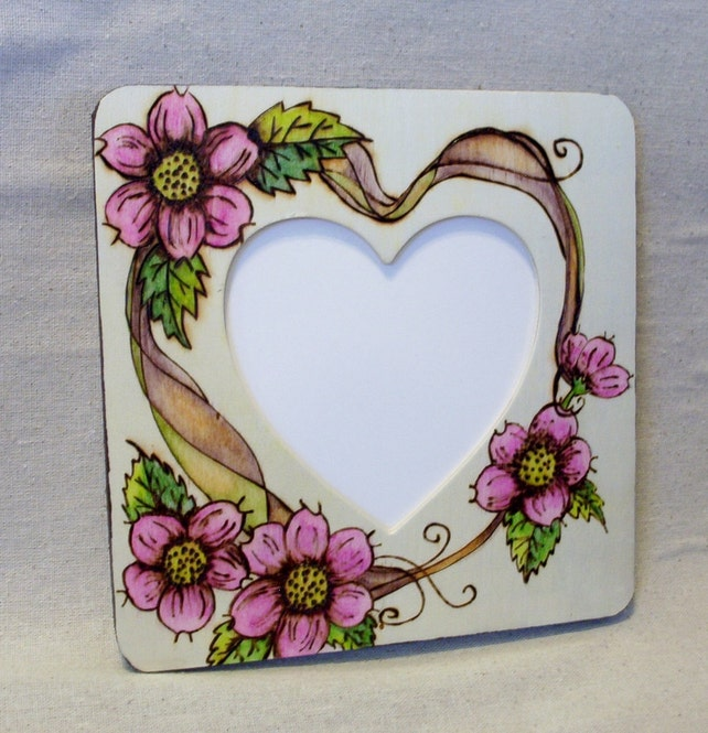 Picture Frame Dogwood And Vine Heart Shaped Opening 8 X Etsy