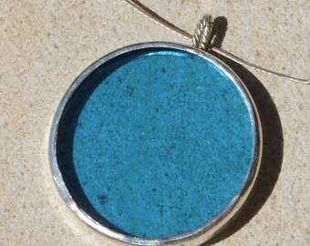 Blue Glass and Silver Necklace - N003