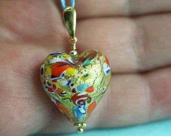 Aqua heart pendant Murano Necklace Kingfisher Murano heart necklace Bridesmaid Gift Bridal Jewellery Glass heart pendant