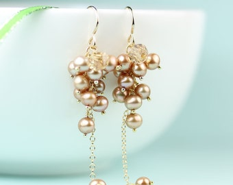 Pearl Cluster Earrings, long chain dangle earrings with rose gold freshwater pearls, gift idea for her, under 50 dollars, women's jewelry