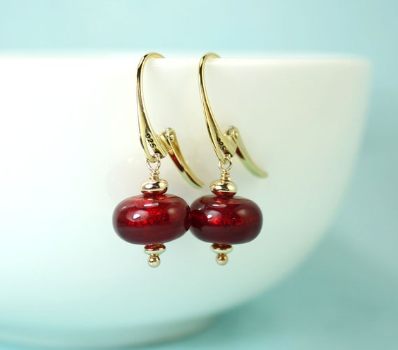 Red Agate Earrings Gold Plated  Lever Back