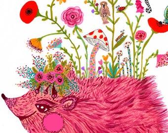 NEW!!! Happy Hedgehog PRINT