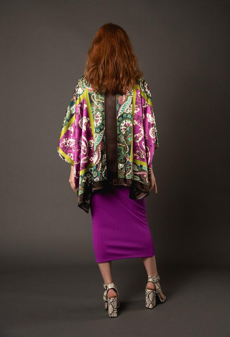 Fuschia Pencil Skirt with Rainbow Elastic Detail