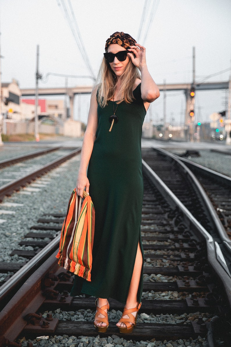 2a0cdb8a75c3 Hunter Green Slip Dress | Etsy