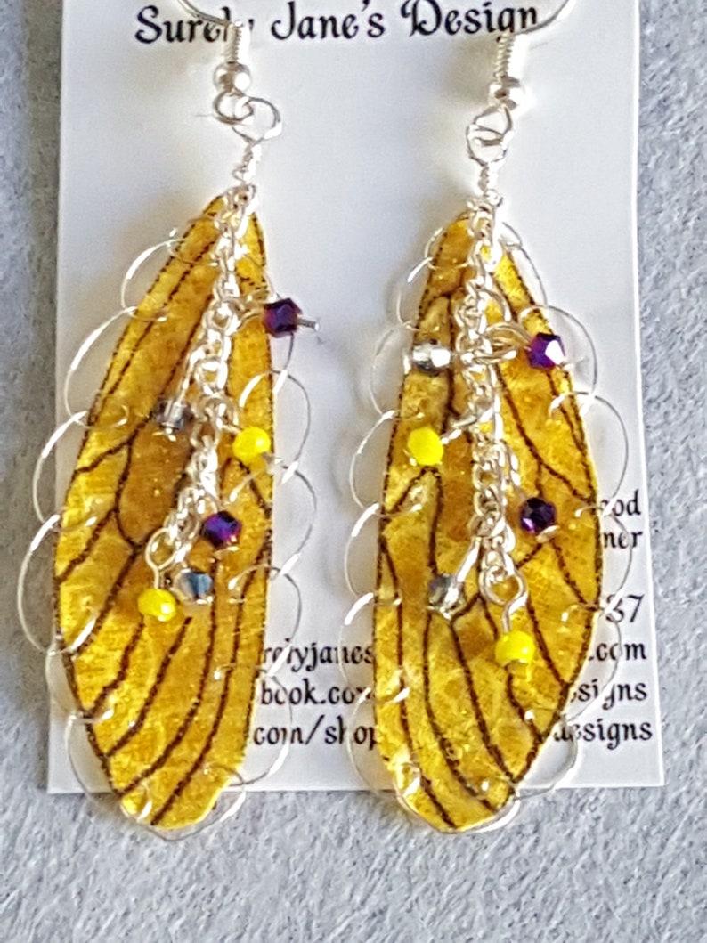Fairy Wing Earrings Yellow Purple Iridescent, Fairy Earrings, Faerie Wing  Earrings, Butterfly Earrings,