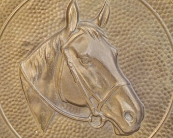 """Vintage 11"""" Brass Horse Wall Plaque Lombard England"""