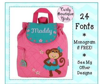24 Fonts- Toddler Personalized MONKEY Girl s Quilted Backpack by Stephen  Joseph- Birthday 319eb8352ecfe