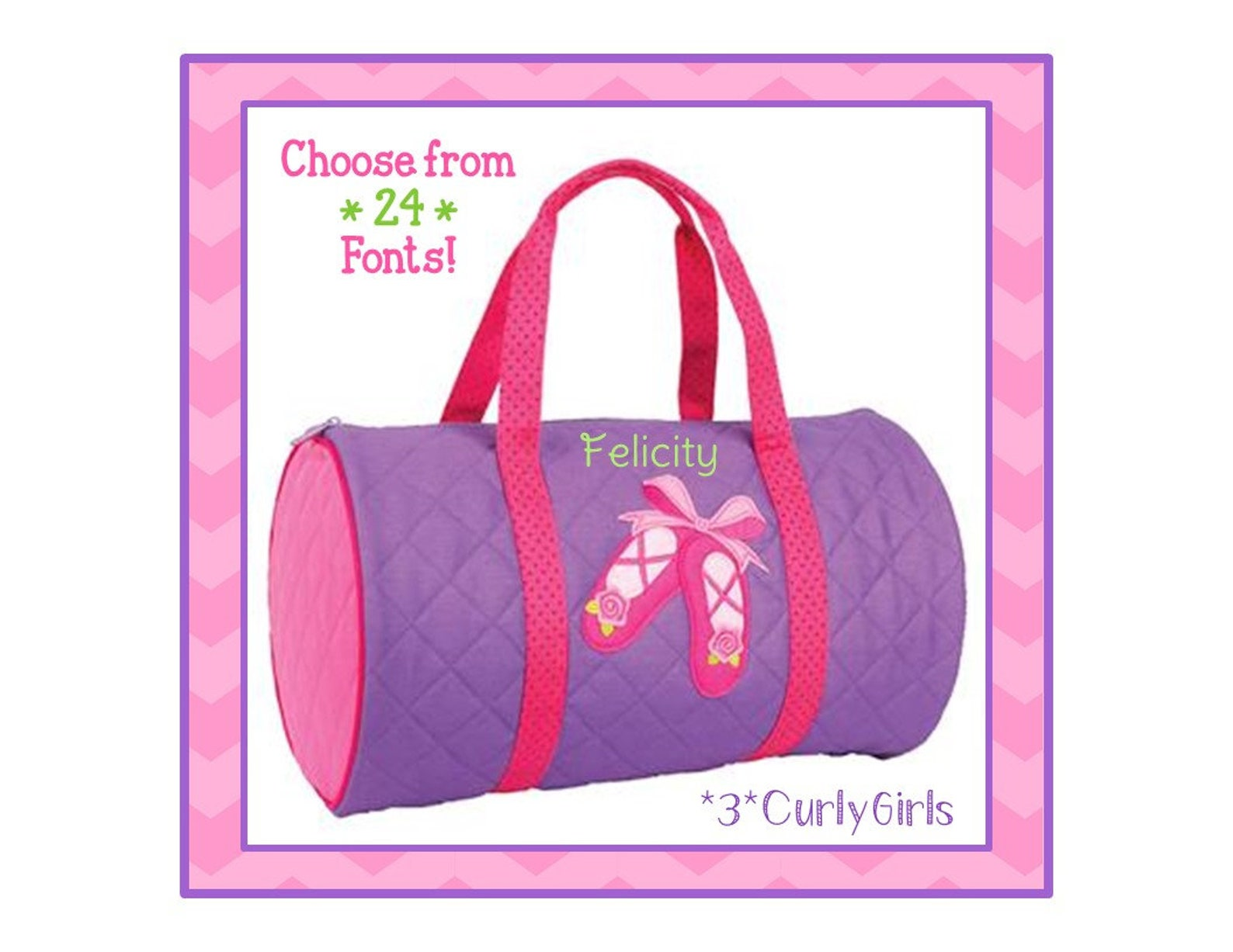 24 fonts- personalized ballet girl's quilted duffel bag by stephen joseph monogrammed free- birthday present, overnight bag