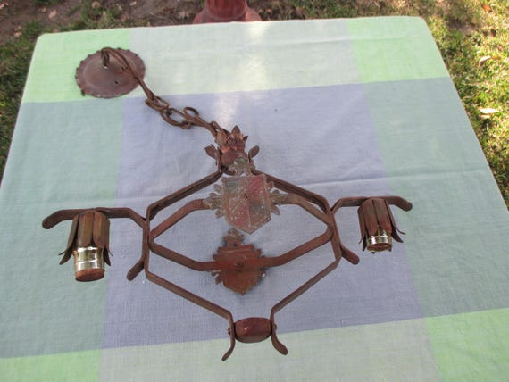 image 0 - Antique Cast Iron Chandelier Painted Etsy