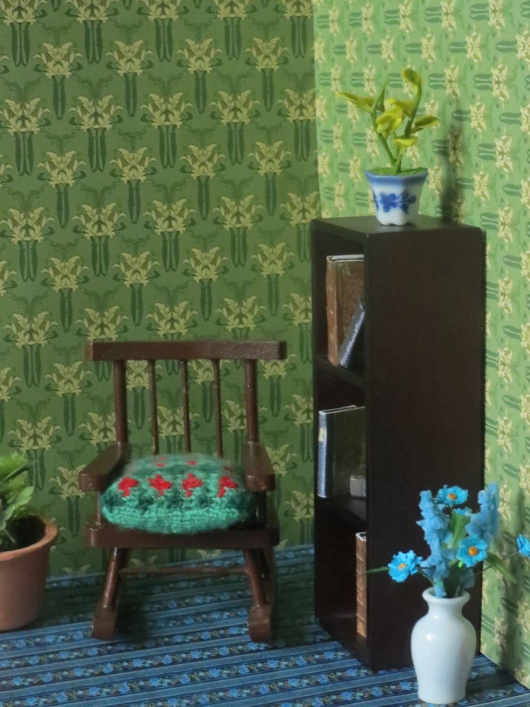 Dollhouse Miniature 1:24 Scale Victorian Blue Wallpaper