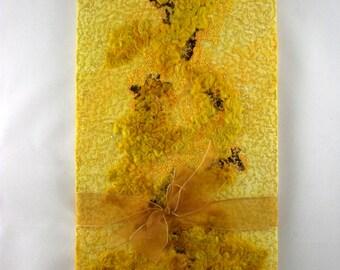 Lichen Long Sketchbook - machine embroidery - handmade, Journal, Notebook.