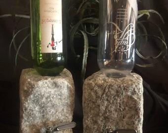 Stone Liquor and Wine Dispenser...... stainless steel handle