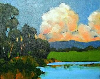 California Painting Plein Air Landscape Santa Cruz Pond & Clouds Skyline Drive Impressionist Art Lynne French O/C 12x12