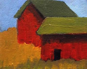Miniature Impressionist Oil Painting 4x4 Plein Air California FARM BARN Hollister Landscape Lynne French Art