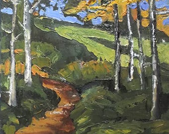 Impressionist Plein Air Oil Painting California Woodland Path 11x14 Lynne French Art
