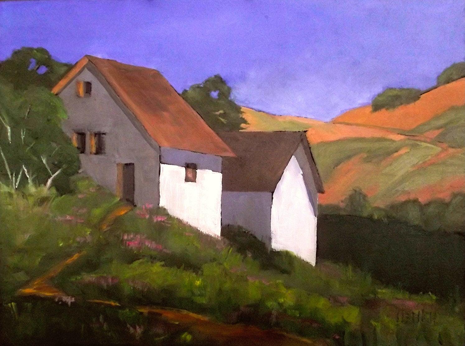 Farm Barn Painting Impressionist 18 X 24 California Plein
