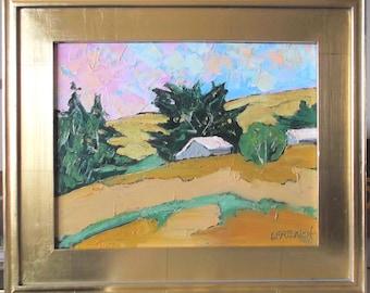 Gold Leaf Wood Framed Impressionist Painting California Plein Air FARM BARNS Coastal Hills Landscape 11x14 Lynne French