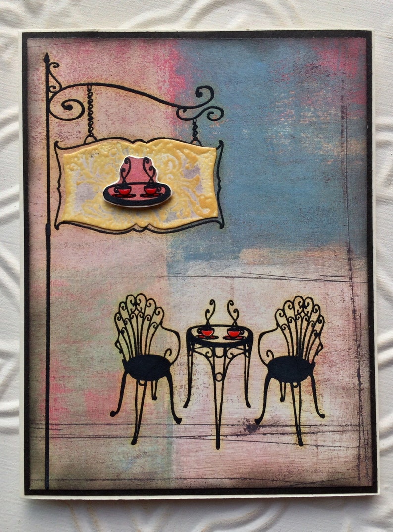 Positano patio bistro table and chairs rubber stamp from oldislandstamps