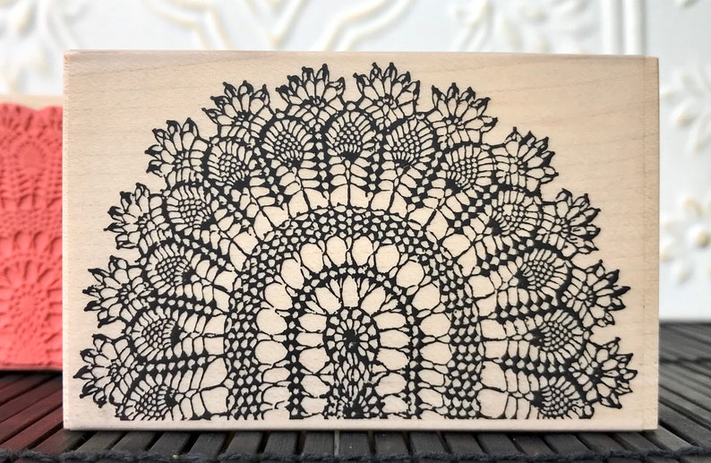 Pineapple peacock crochet design rubber stamp from oldislandstamps