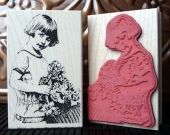 Vintage Girl Photo rubber stamp from oldislandstamps