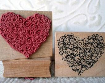 Rosette Heart rubber stamp from oldislandstamps