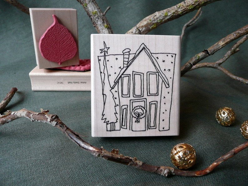 Holiday Home Christmas rubber stamp from oldislandstamps