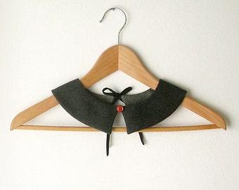 Dark Grey PeterPan Collar   Double Face Detachable Collar Gray Collar