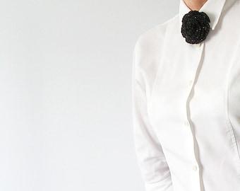 Black Flower Crochet Brooch Sparkling Brooch With Flower