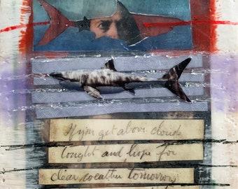 "Surreal Encaustic Collage 5""X5"" - original mixed media artwork"