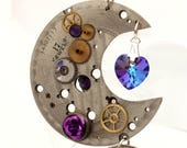 Steampunk crescent moon pendant with patterned vintage watch movement plate, cogs, rose, key and Swarovski crystal heart- Steampunk jewelry