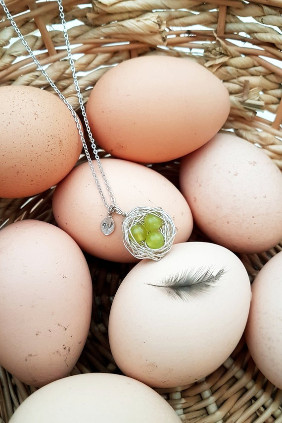 Personalized bird nest necklace with three chrysoprase eggs and initial charm May birthstone crystal healing silver plated woven wire