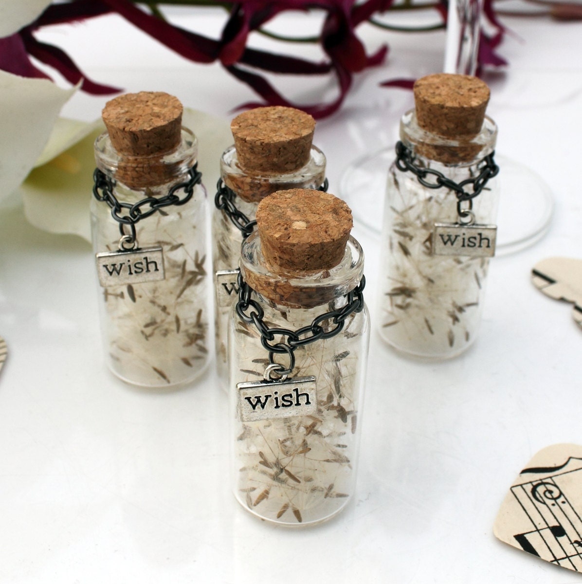 Cork Wedding Memory: 50 Dandelion Seed Glass Vial Wedding Favor Good Luck