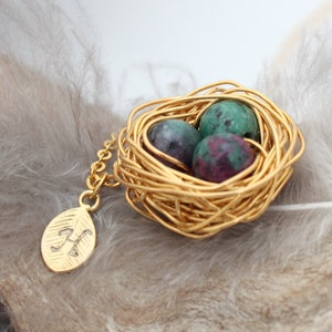 July birthstone crystal healing silver plated woven wire Personalized bird nest necklace with three ruby in zoisite eggs and initial charm