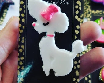White Poodle Resin Brooch