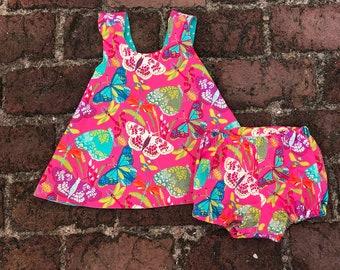 Girls Reversible Dress + butterfly + bloomers