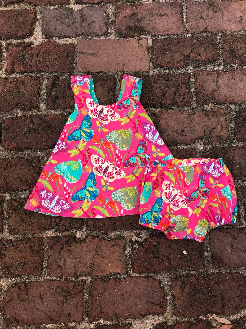 Girls Reversible Dress  butterfly  bloomers image 0