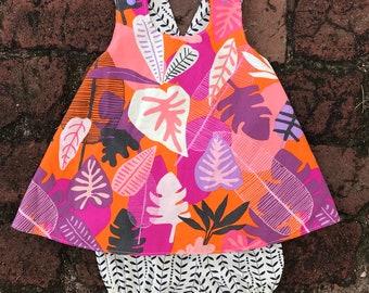 Girls Reversible Dress + palm + tropical