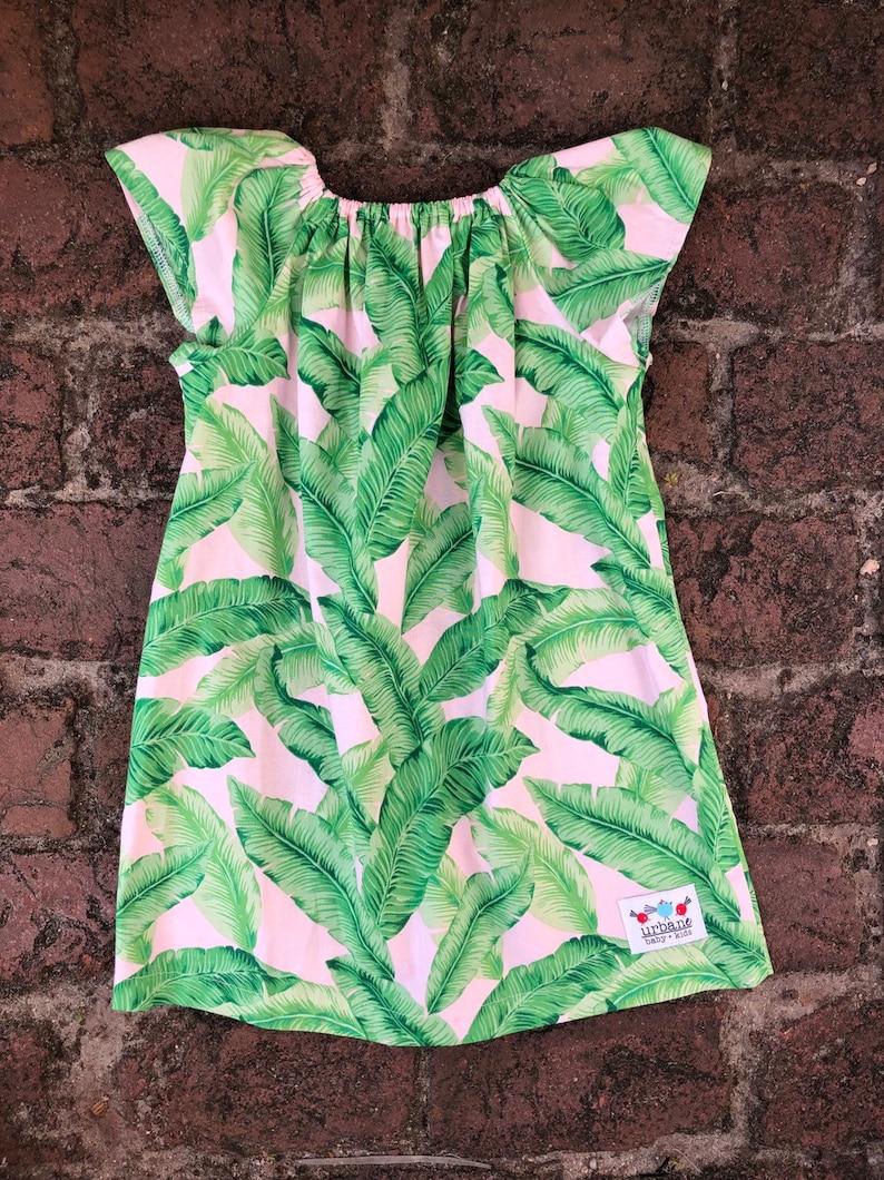 Girls Palm Peasant Dress image 0