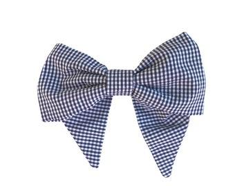 Navy Gingham Hair Bow