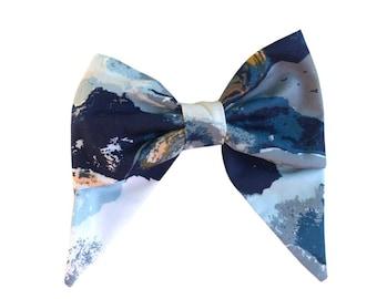 Blue Abstract Hair Bow
