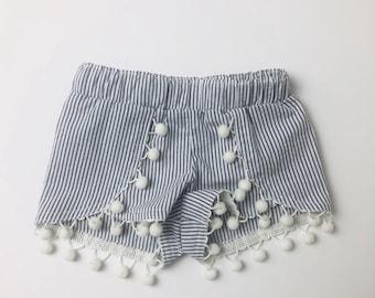 Seersucker + pompom shorts