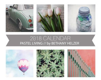 2018 Desk Calendar, Photo Calendar, Desk Calendar, Fine Art Photography, Pastel, Colorful, 5x7, 2018 Calendar, Loose Leaf Calendar, For Her