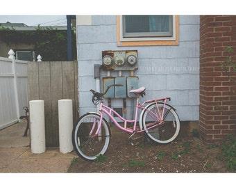 Pink Bicycle Print, 8x12 Print, Dreamy Photography, Montauk Photography, Long Island Art, Montauk New York, Landscape Photography, Bicycle