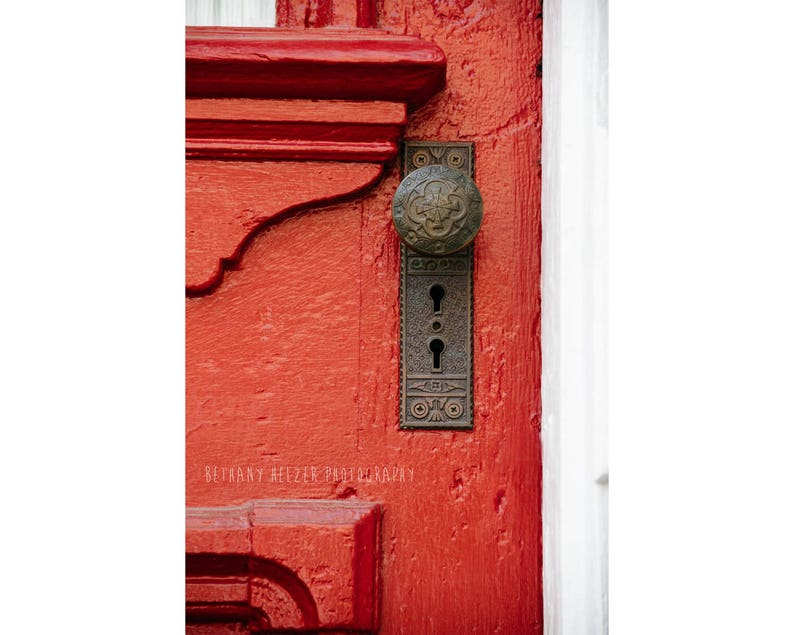 New Orleans French Quarter Photography Rustic Decor Red Door image 0