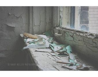 Still Life Photography, Rustic Decor, 8x12 Print, Pastel, Dreamy Photography, Urban Decay, Detroit Art, Home Decor, Wall Art, Blue, Mint
