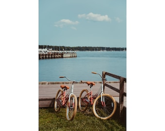 Greenport NY Bicycles North Fork Long Island Photography Greenport New York Bicycle Photography Beach Decor Bicycle Print Blue Coral Decor