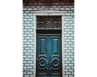 Porto Portugal Photography Teal Door Azulejos Tile Porto Door Print Portugal Door Photography Travel Photography