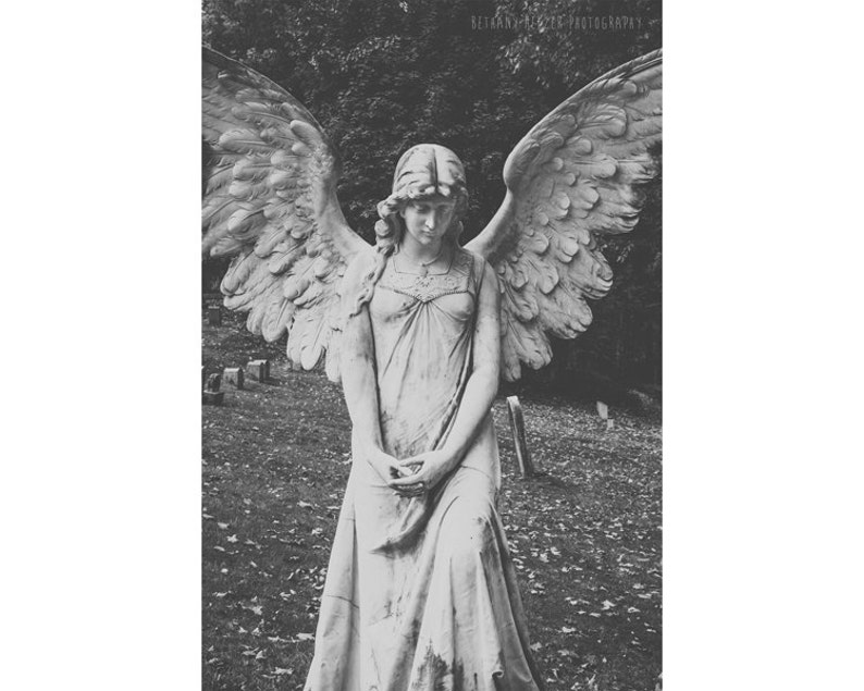 Angel Art Black and White Photography Graveyard Cemetery image 0