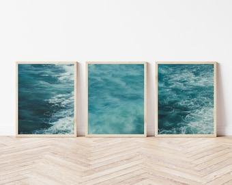 Portugal Photography Nautical Decor Set of 3 Prints Beach Photography Surf Coastal Decor Dreamy Photography Teal Art Calming Photography